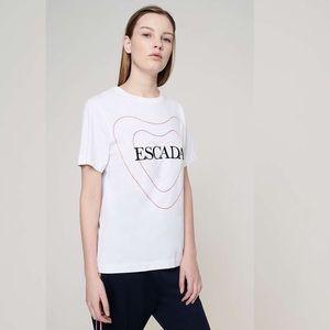 Escada Sport Embroidered Heart Logo White T-Shirt